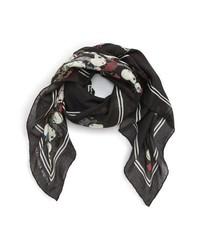 Bufanda con print de flores negra