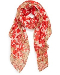 Bufanda con print de flores roja