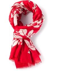 Bufanda con print de flores roja de Marc Jacobs