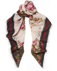 Bufanda con print de flores rosada