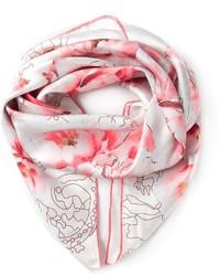 Bufanda con print de flores rosada de Elie Saab