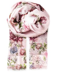 Bufanda con print de flores rosada de Faliero Sarti