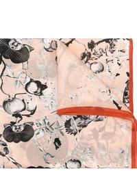 Bufanda con print de flores rosada de Roberto Cavalli
