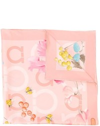 Bufanda con print de flores rosada de Salvatore Ferragamo