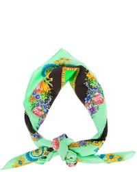 Bufanda con print de flores verde de Versace