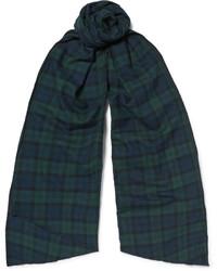 Bufanda de algodón a cuadros en verde azulado de Engineered Garments