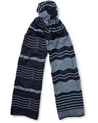 Bufanda de algodón de rayas horizontales azul marino de Missoni