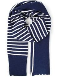 Bufanda de algodón de rayas verticales en azul marino y blanco