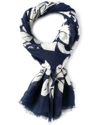 Bufanda de algodón estampada azul marino de Marc Jacobs