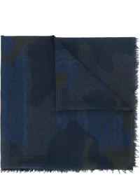 Bufanda de algodón estampada azul marino de Neil Barrett