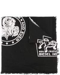 Bufanda de algodón estampada negra de Diesel