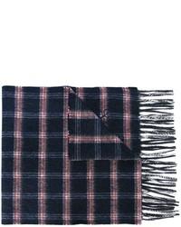 Bufanda de lana a cuadros azul marino de Canali