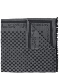 Bufanda de lana a cuadros en gris oscuro de Emporio Armani