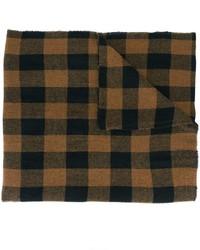 Bufanda de lana a cuadros en marrón oscuro de Barena