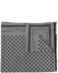Bufanda de lana a cuadros gris de Emporio Armani
