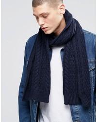 Bufanda de lana de punto azul marino de Asos