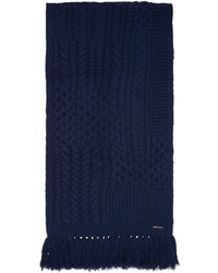 Bufanda de lana de punto azul marino de Burberry