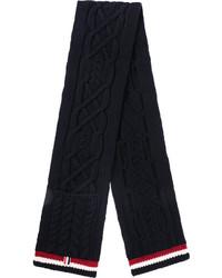 Bufanda de lana de punto azul marino de Thom Browne