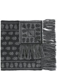 Bufanda de lana de punto en gris oscuro de Alexander McQueen