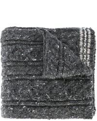 Bufanda de lana de punto en gris oscuro de Thom Browne