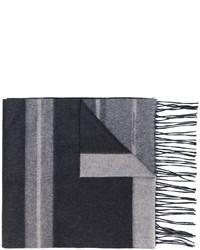 Bufanda de lana de rayas horizontales gris de Salvatore Ferragamo