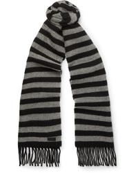 Bufanda de lana de rayas horizontales negra de Saint Laurent