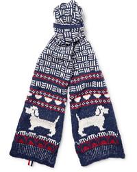 Bufanda de lana estampada azul marino de Thom Browne
