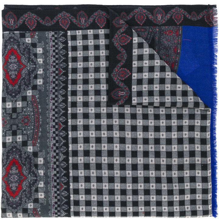 Bufanda de lana estampada en gris oscuro de Etro