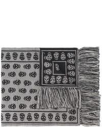 Bufanda de lana estampada gris de Alexander McQueen
