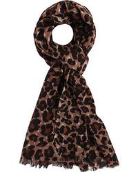Bufanda de leopardo en marrón oscuro