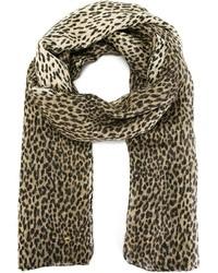Bufanda de leopardo marrón de Saint Laurent