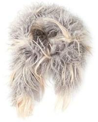 Bufanda de pelo gris de Yves Salomon