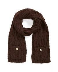 Bufanda de punto en marrón oscuro