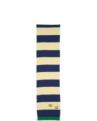 Bufanda de rayas horizontales en blanco y azul marino de Gucci