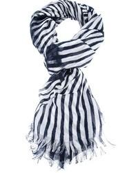 Bufanda de rayas verticales en blanco y negro
