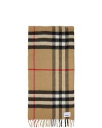 Bufanda de seda a cuadros marrón claro de Burberry