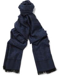 Bufanda de seda azul marino de Isaia