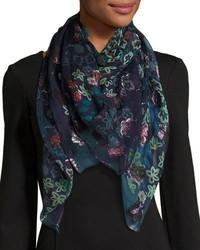 Bufanda de seda con print de flores azul marino