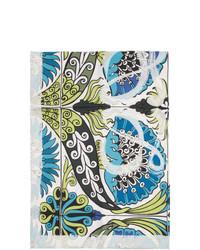 Bufanda de seda con print de flores celeste de Loewe