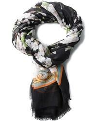 Bufanda de seda con print de flores negra de Dolce & Gabbana