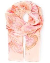 Bufanda de seda con print de flores rosada de Salvatore Ferragamo