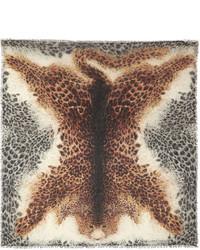 Bufanda de seda de leopardo marrón claro de Alexander McQueen