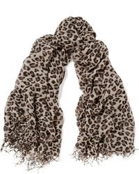Bufanda de seda de leopardo negra de Chan Luu