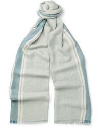 Bufanda de seda de rayas verticales celeste de Loro Piana