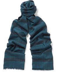 Bufanda de seda de tartán azul marino de Brioni