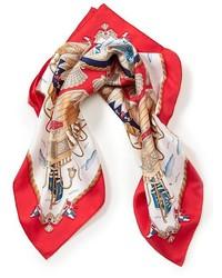 Bufanda de seda en rojo y blanco