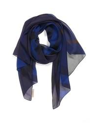 Bufanda de seda estampada azul marino