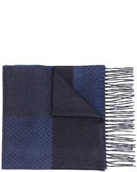 Bufanda de Seda Estampada Azul Marino de Canali