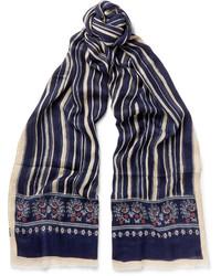 Bufanda de Seda Estampada Azul Marino de Drakes