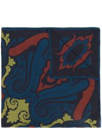 Bufanda de Seda Estampada Azul Marino de Etro